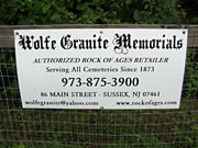 Wolf Granite Memorials Sussex, NJ